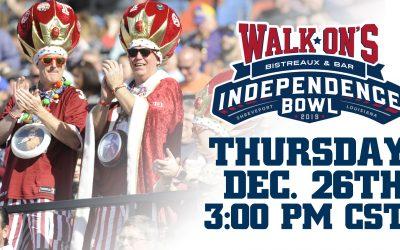 44th Walk-On's Independence Bowl Set for Thursday, December 26